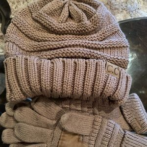 CC beanie and matching gloves